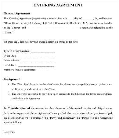 Catering agreement template 9 free word pdf format for Catering questionnaire template