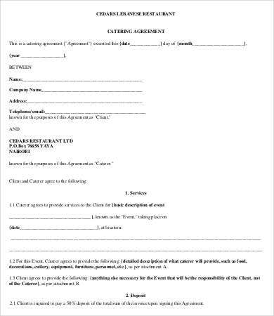 restaurant catering agreement template