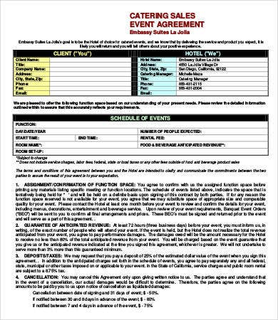 catering sales event agreement