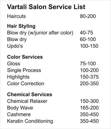 Salon Service List Template