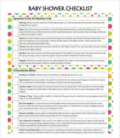 baby shower checklist template 7 free word pdf format download