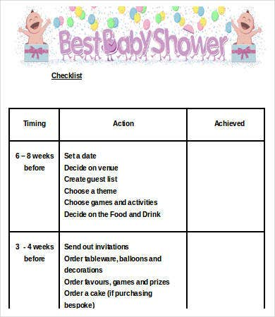 Baby Shower Checklist Template   Free Word Pdf Format Download
