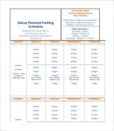 Group Personal Training Schedule