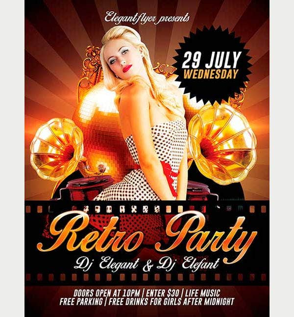 free psd retro party flyer
