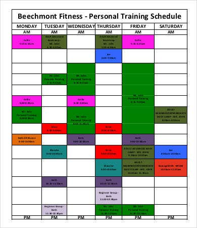 Personal trainer workout schedule template eoua blog for Personal training program template