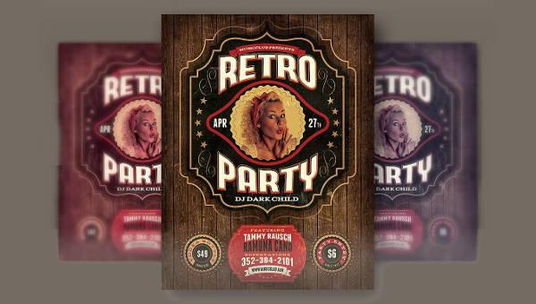 retro party flyers