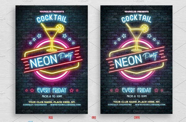 neon-cocktail-party-flyer