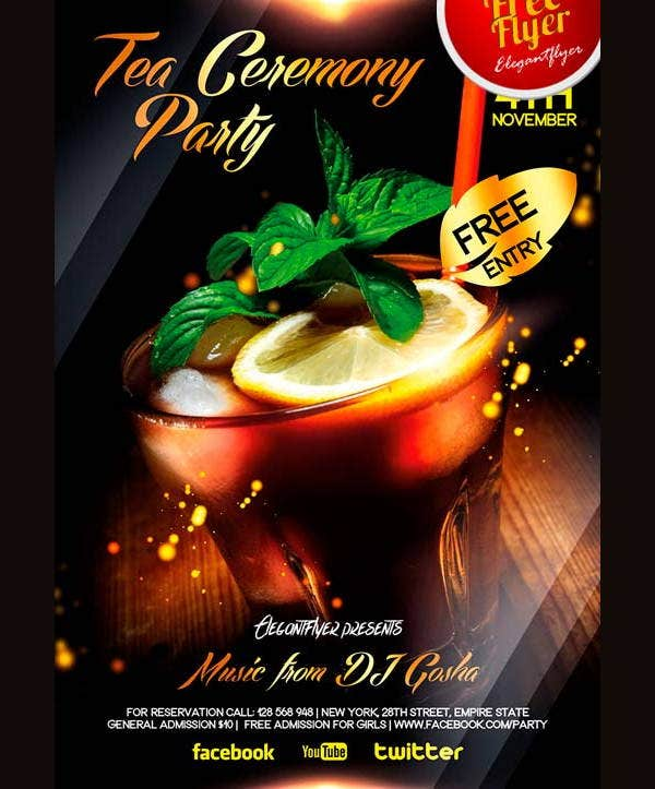 free psd cocktail party flyer