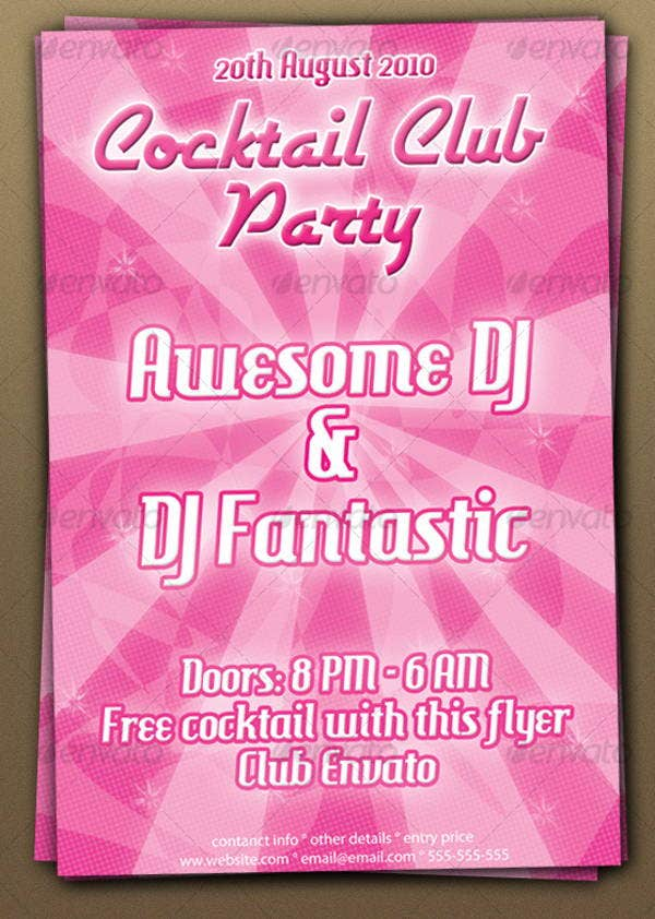 cocktail club party flyer