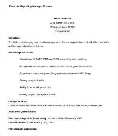 financial reporting manager resume templates