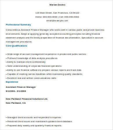 assistant finance manager resume sample - Resume Sample Finance