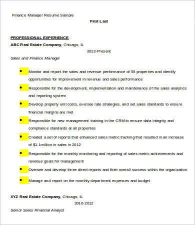 finance manager resume sample - Finance Manager Resume Template