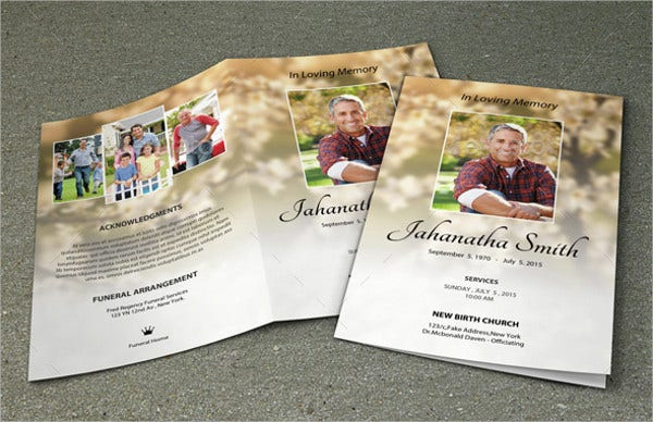 9 funeral event brochures designs templates free for Memorial pamphlets free templates