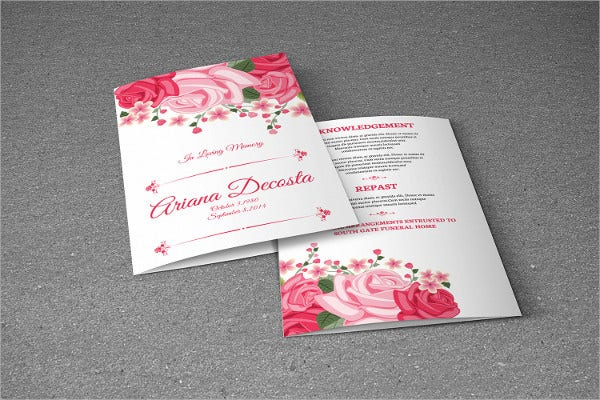 funeral floral event brochure