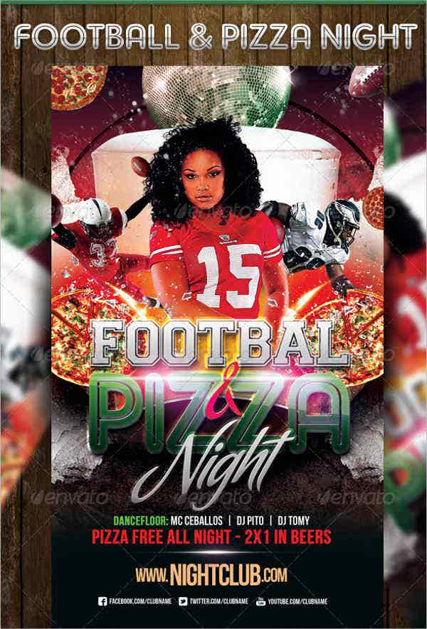football and pizza nights party flyer