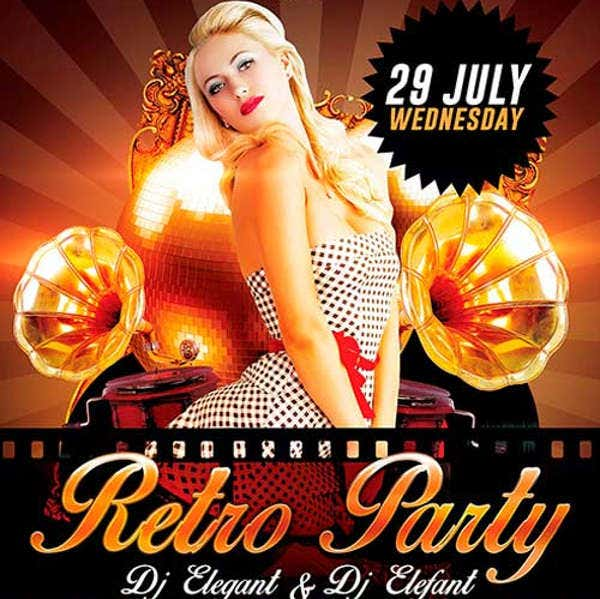 Free Retro Party PSD Flyer