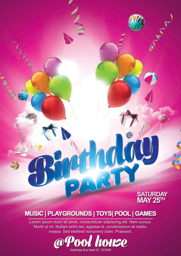 10+ Birthday Party Flyers - Design, Templates | Free & Premium ...