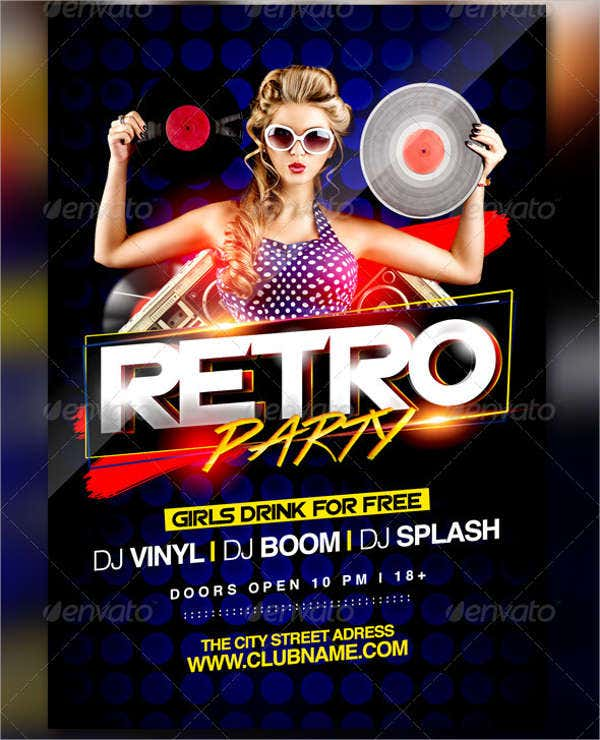 retro party event flyer