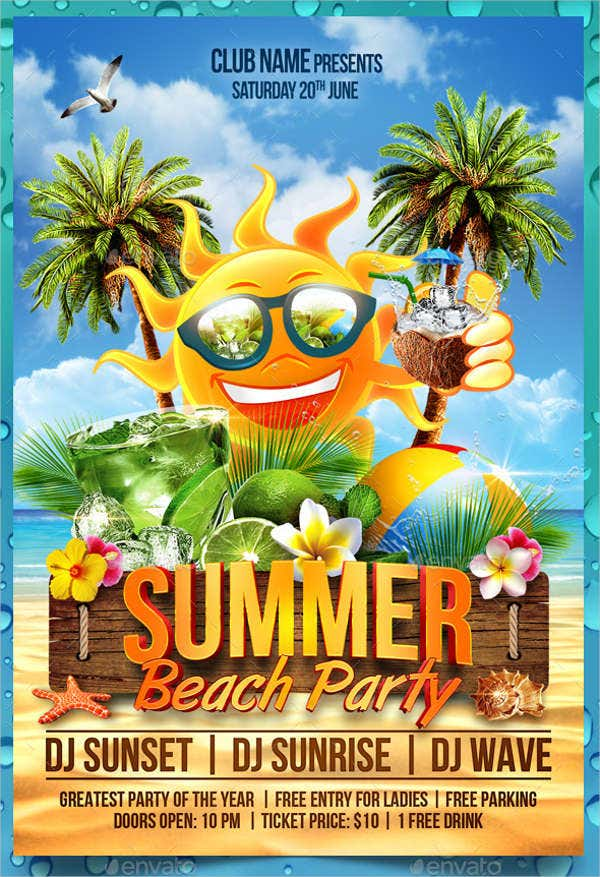 Summer Party Flyers  Psd Eps Pdf Indesign Vector File