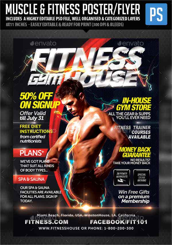 fitness brochure templates - 7 gym fitness flyers psd eps vector indesign file