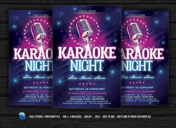 Karaoke Party Flyers  Free Psd Eps Vector Format Download  Free