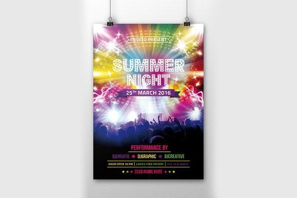 summer disco party flyer