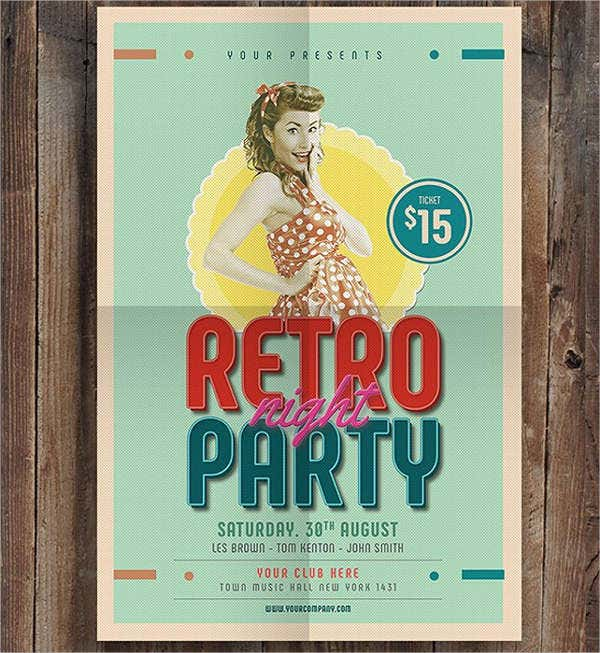 retro dance party flyer