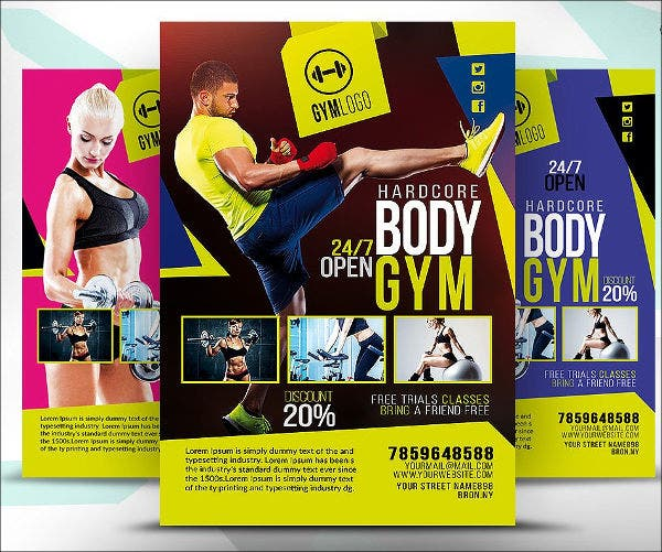 7 fitness club flyers psd eps vectors indesign pdf for Fitness brochure template
