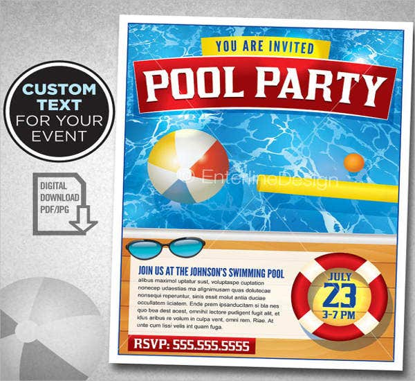 pool birthday party flyer
