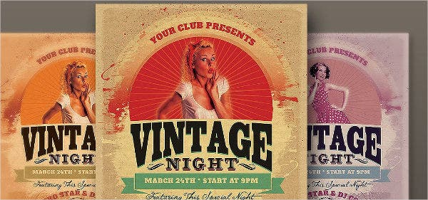 vintage night party flyer