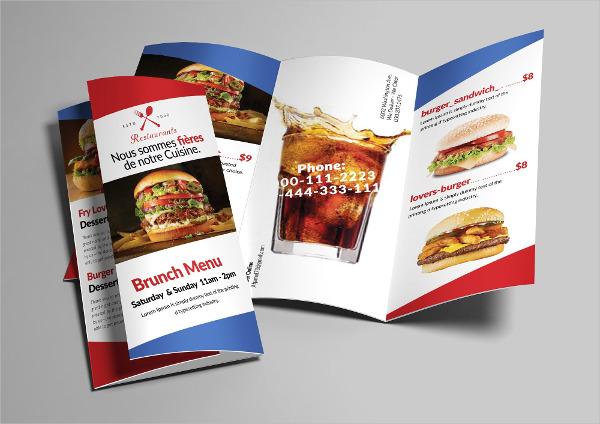 tri fold fast food brochure