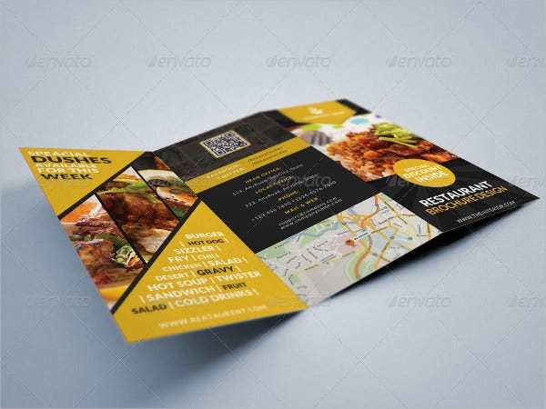 Tri-fold Restaurant Food Brochure