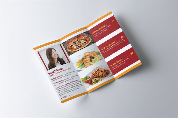 Tri-fold Food Menu Brochure