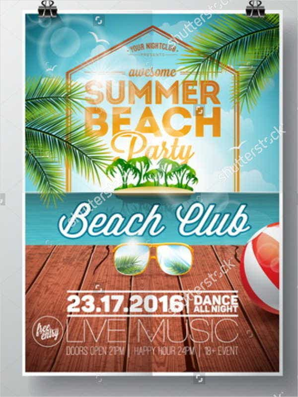 vintage beach party flyer