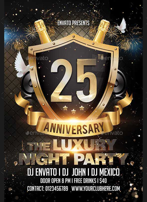 9 anniversary party flyers psd ai indesign free premium