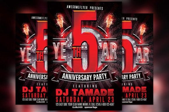 anniversary event party flyer