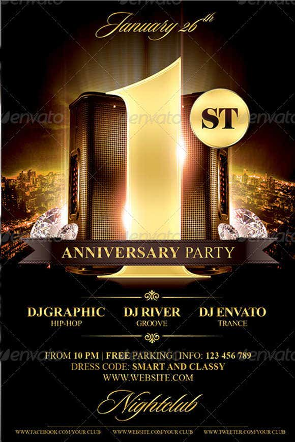 9  anniversary party flyers