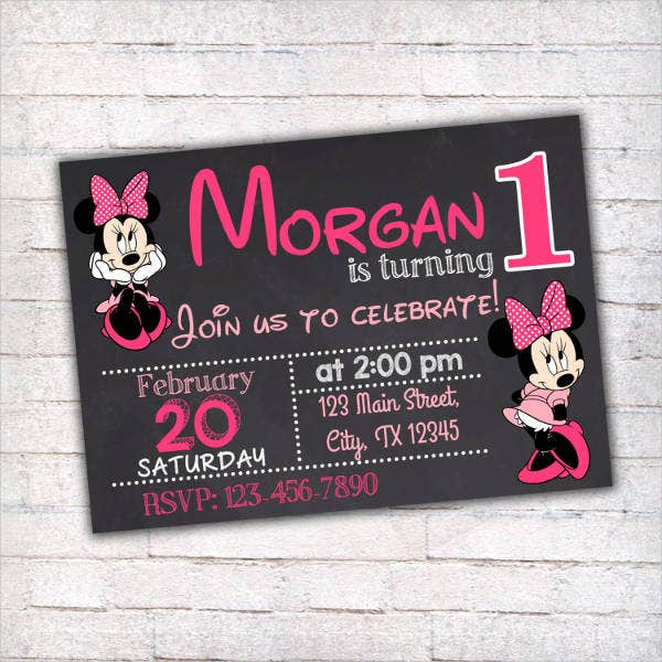 printable minnie mouse birthday invitation