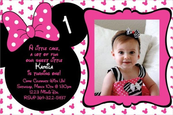 8 Minnie Mouse Birthday Invitations Free Editable PSD AI Vector