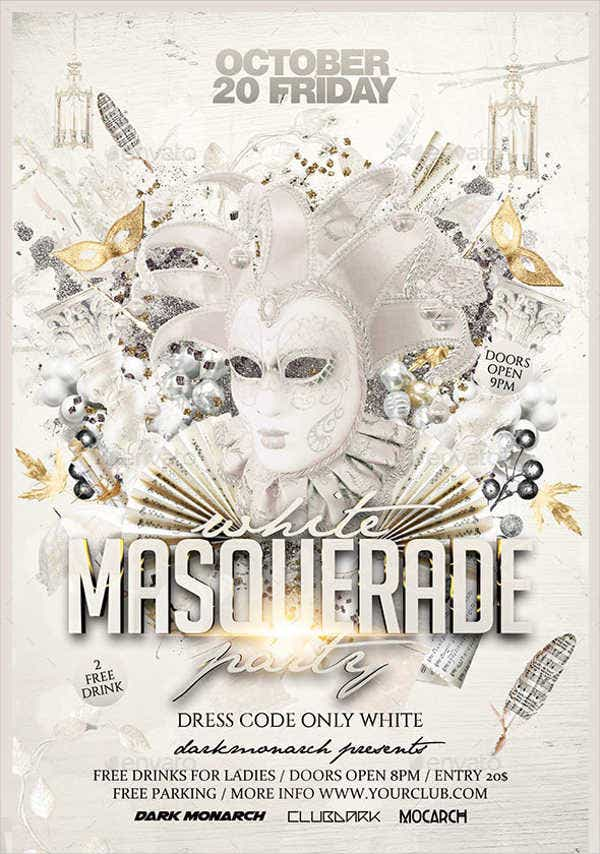 8 masquerade party flyers design templates free premium