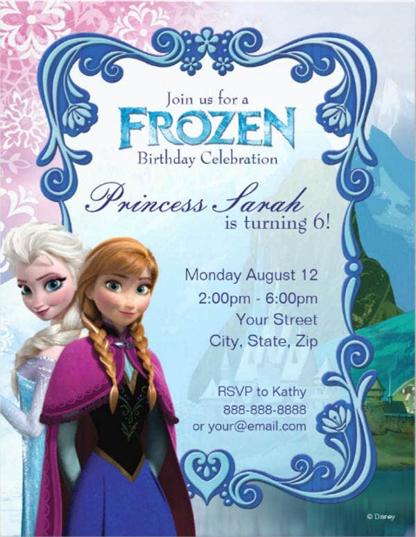 9 Frozen Party Invitation Templates Free Editable PSD AI Vector