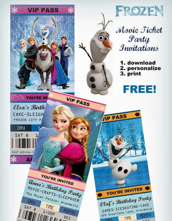 Frozen Party Ticket Invitation