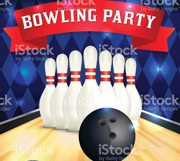vector bowling party flyer