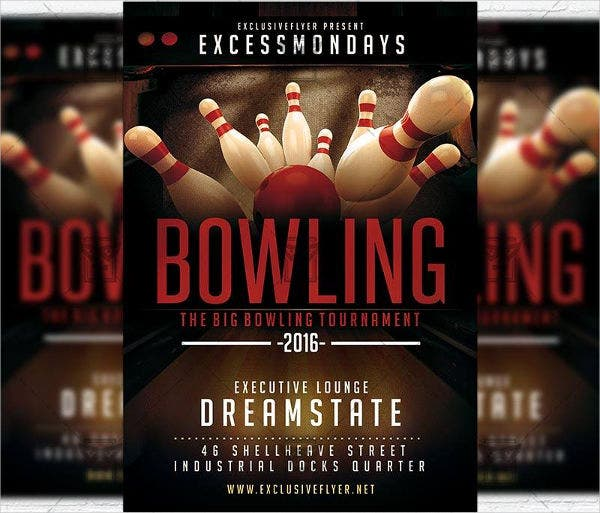 Free PSD Bowling Party Flyer  Bowling Flyer Template Free