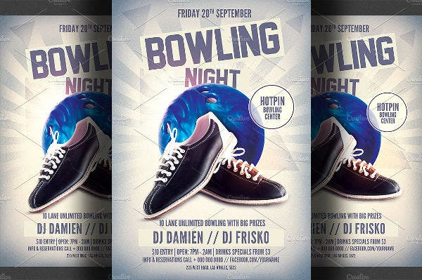 Bowling Night Party Flyer
