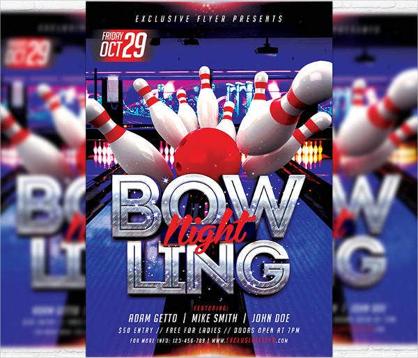 bowling event party flyer