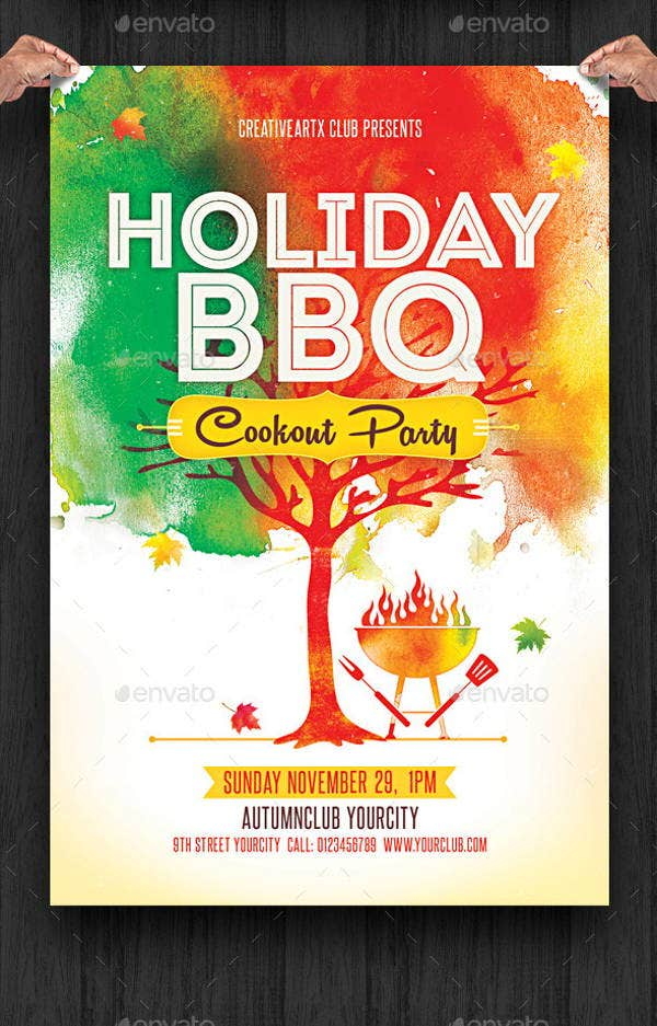 bbq holiday party flyer