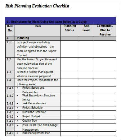 Project Planning Risk Evaluation Checklist Template