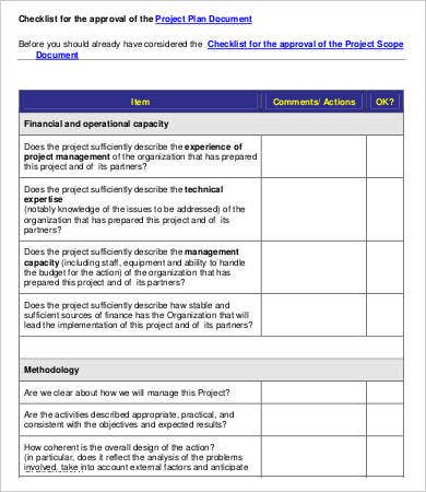 Project Plan Evaluation Checklist