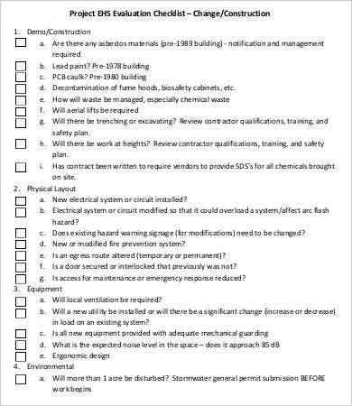 Construction Project Evaluation Checklist
